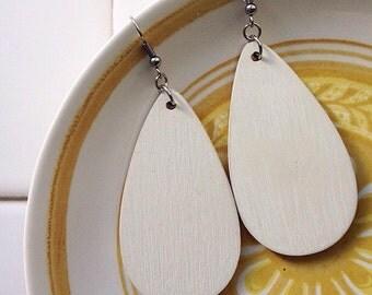 Hand painted wooden teardrop earrings, cream, dangles, boho, bohemian, statement