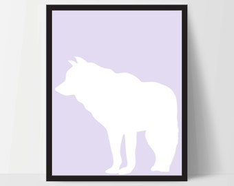 Animal Wolf Wall Art, Unframed, Artwork, Home Decor, Modern Contemporary, Print Art, Boho, Nursery, Baby, Purple, 12x16 Inches
