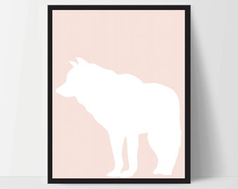 Animal Wolf Wall Art, Unframed, Artwork, Home Decor, Modern Contemporary, Print Art, Boho, Nursery, Baby, Salmon Pink, 12x16 Inches