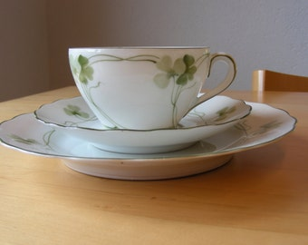 Bavarian cup, saucer and plate with clover pattern