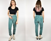 High Waisted Jeans, Women's Size 6, Size 4, 90s Express Jeans, Green Jeans, Skinny Jeans, Slim Fit Jeans, Tapered Leg Jeans, Green Denim
