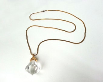 """Gorgeous Vintage Rare Monet Long Lucite Crystal Pendant Necklace, Gold Tone Necklace on a Long Chain 30"""", Boho, Flapper, Great Gatsby"""