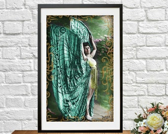 Printable Art French Butterfly Woman  Postcard Photo Altered Edwardian Photograph Costume Gown Instant Download Ephemera Scrapbook