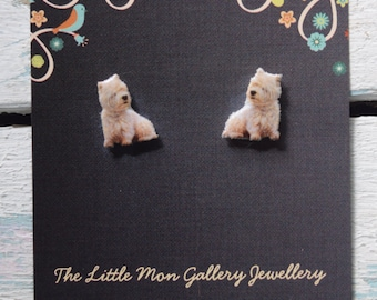 West Highland Terrier Westie Stud Earrings