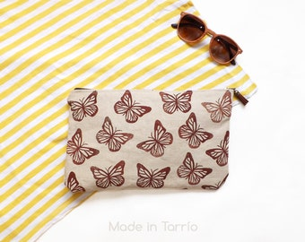 Block printed clutch: Butterflies (brown)