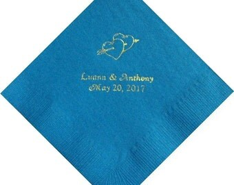 Personalized Wedding Beverage Napkins with Double Hearts with Arrow
