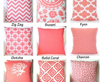 Coral Throw Pillow Covers, Decorative Throw Pillows, Cushion Covers, Coral on White Chevron Home Decor One or More Mix & Match All Sizes