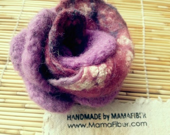 Lace-woollen felted rose brooch - a flower pin in violet-white-burgundy