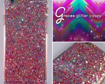 Strawberry Bon Bon hot pink - Glitter Phone Case - iPhone 7 7 plus 6 plus 6s SE 5s 5c 5 4 Samsung S3 S4 S5 S6 S7 Edge - glitter iphone case