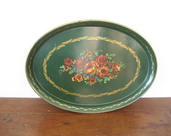 Vintage Green Tin Floral Serving Tray Large