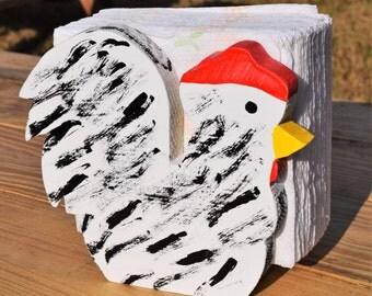 Napkin Holder; Wood Chicken Napkin Holder; Chicken Napkin Stand; White Chicken; Rustic Napkin Holder; Chicken Gift; Chicken Decor