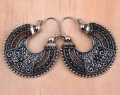 FREE SHIPPING Two,2 Side Indian Design Ethnic Earring,Crescent Earring,Silver Hoop ornate Earring,Boho Hippie,Filigree Earring,Gypsy Jewelry