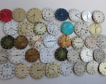 39 pcs  round Watch Face Dials, From Old Watch Parts, & Dials For Steampunk Altered Art Gear, Repair, or ScrapBooking