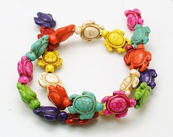 Gemstone Turtles Colorful Turtle Beads Howlite Rainbow Turtles Multi Color Double Sided Drilled 19mm X 14mm 22 Beads