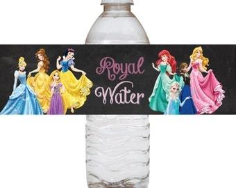 All Disney Princesses Water Label, Princesses Water Labels, Bottle label, Bottle labels - Instant Download - Disney Princesses bottle labels