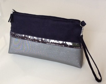 Small handbag with removable strap, evening bag, black and grey with grey spangles