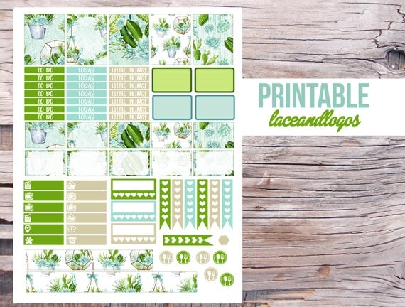 Printable Planner Stickers Succulents Weekly Sticker Kit