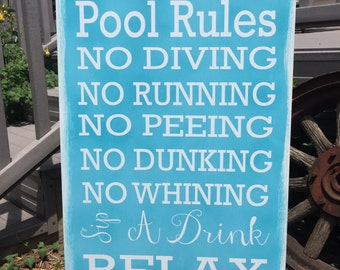 Pool Rules Sign, Outdoor Wooden Vinyl Sign