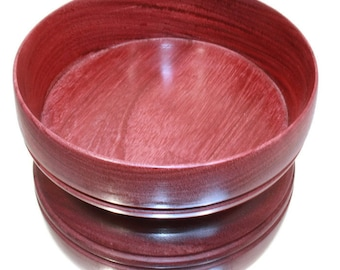 Wooden Bowl. Hand Made from Purpleheart wood. Great for snacks, trinkets, jewellery, jewelry, coins, nuts etc. Ideal gift.