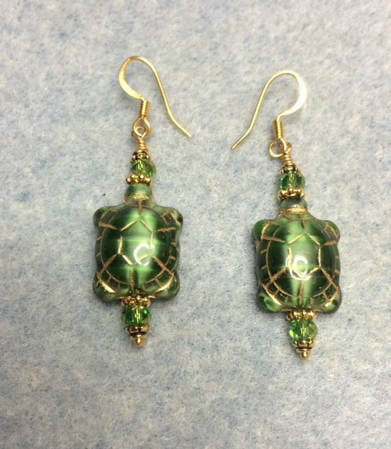 Emerald Bead Beads: Emerald Green Czech Glass Turtle Bead Earrings Adorned With