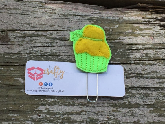 Tinkerbell Cupcake Inspired Clip/Planner Clip/Bookmark. Cupcake planner clip. Fairy Planner clip