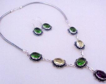 46 Gr. Lemon-Peridot-Amethyst Stone .925 Silver Handmade FINE WORK Jewelry Necklace (Jh-84)
