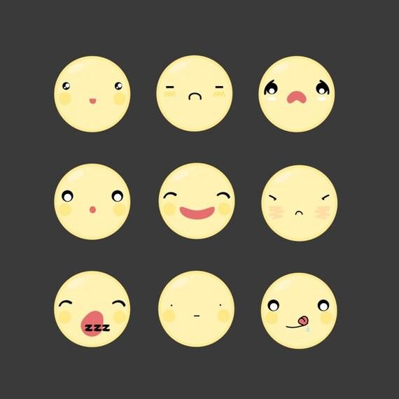 kawaii digital emoticons emoji face happy emotion icon clipart download educational web design sticker invitation card