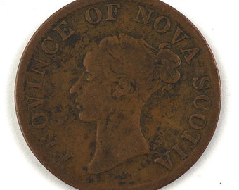 1840 Copper Canada,  Nova Scotia, Half Penny, Queen Victoria