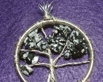Tree of Life Pendant, Natural Snowflake Obsidian Stone / Crystal Wire Wrapped Tree Pendant, Handmade Tree of Life Charm