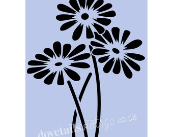 Flowers Stencil MUMS FLOWERS A5 210 x 148mm (8' x 5 3/4') stencil for Furniture Painting Projects, Fabric, Glass, Signs, Walls fiori 064