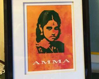 YOUNG AMMA cutting portrait with paper background, covered with glass and finished with black plastic frame