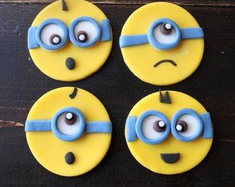 MINION FONDANT Cupcake Toppers 12pcs.