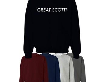 Great Scott Printed Sweater Jumper Sweatshirt Back to the Future Womens Mens S-XXL UK Ships Worldwide