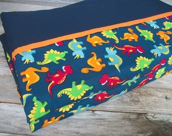 Boy Nap Mat Cover/Cotton Dinosaur Print (Orange Accent) ***Choose your size!