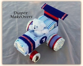 Race Car Diaper Cake - Diaper Cake - Baby Shower Gift - Baby Gift - Baby Shower Centerpiece - Race Car Theme