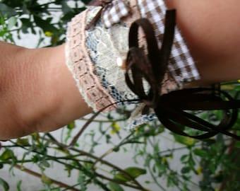 Handmade bracelet. Boho bracelet. Hippie.Romantic jewelry. Fabric jewelry. TextileJewelry.Anime.Lolita.Kawaii.Gift.For her. Fabric bracelet cuff.
