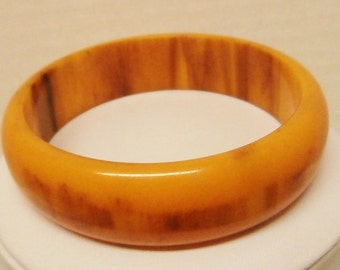 Free Ship* Vintage Marbled Bakelite Bangle Bracelet Mississippi Mud Orange Butterscotch Brown Swirl Mid Century Collectible Costume Jewelry