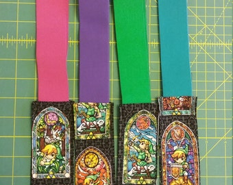 Stained Glass Legend of Zelda Bookmark - Stay Put Bookmark  - Elastic Bookmark