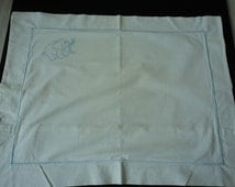 French Vintage babies white linen embroidered  pillowcase  (01878)