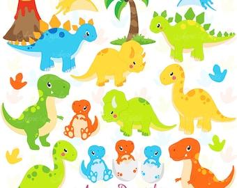 Cute Dinos Clipart. Scrapbook printable dinosaur Clip Art Commercial Use. Trex, Triceratops, brontosaurus, stegosaurus graphics