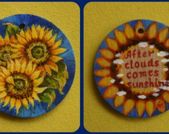 Sunflowers painting Inscription Miniature painting OOAK Handmade pendant Wood art Small painting Wooden necklace Hand painted pendant
