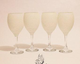 Glitter Top Wine Glasses Set of 4 White