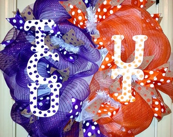 Made to Order, House divided wreath, Texas Christian Univ. wreath, University of Texas Longhorns Wreath, Burlap Ribbon Sports wreath