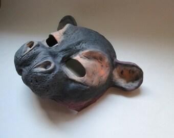 Hippo mask, Hippopotomus, Animal mask, lightweight mask, adult masquerade, Wild animal mask, costume mask, custom made, made to order