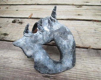 horned Gargoyle masquerade mask, larp, made to order, custom colors, costume mask, fantasy, stone look