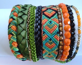 Bracelet Manchette Brésilien Zorang Orange, Vert, Kaki & Noir ©CloEthniK