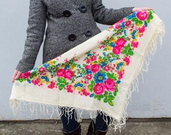 Vintage Ukrainian shawl, Russian Floral Scarf ,russian shawl, floral scarf, head scarf,natural white shawl, wedding shawl,Scarf With Tassels