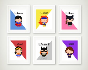 Superhero Print Set, Superhero Wall Art, Girls Room, Superhero Art, Supergirl Print, Batgirl, Cat Woman, Wonder Woman, Instant Download