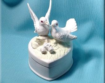 Porcelain Lovebird Jewelry Box