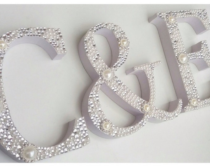 Letters  | Free standing letters | Pearl and crystal embellished letter | Sparkle | Home Decor. Letters | Signs.